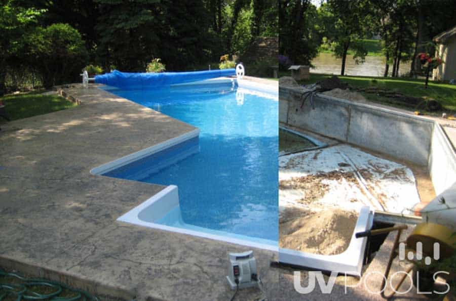 Pool Renovation Before and After with Stamped Concrete